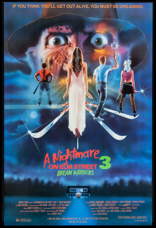 A Nightmare on Elm Street 3 * Dream Warriors  * Poster 1987 Large Format 24x36