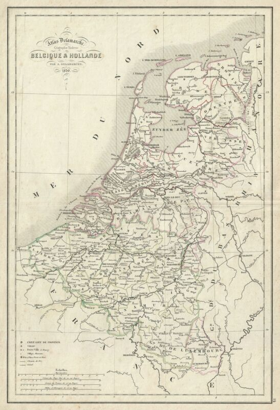 1850 Delamarche Map of Holland and Belgium