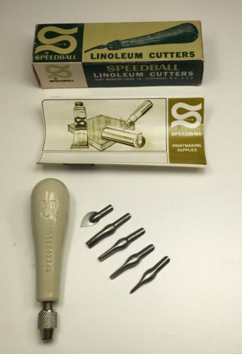SPEEDBALL Vintage Linoleum Cutter 5 Blades Original Box