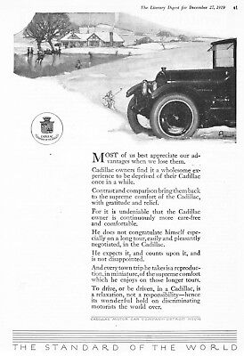 "1920 Cadillac Sedan at House & Pond art ""Owners are Care-Free"" vintage print ad"