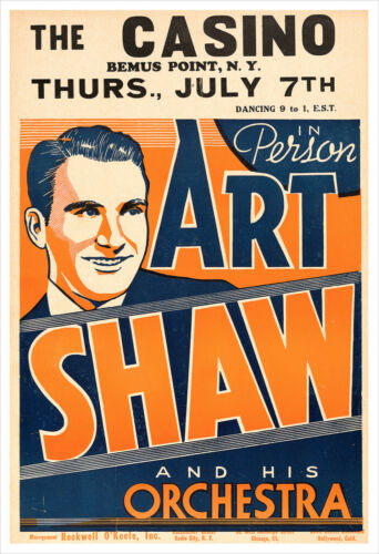 Artie Shaw 1938 concert poster print