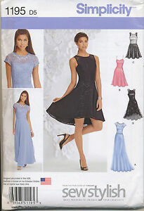 SIMPLICITY SEWING PATTERN 1195 MISSES SZ 4-12 FIT & FLARE FORMAL DRESS & MAXI