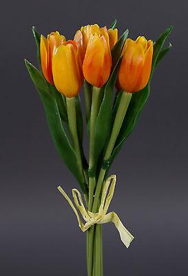 7 Stück Outdoor-Tulpen 40cm orange DP Kunstblumen künstliche Blumen Tulpen