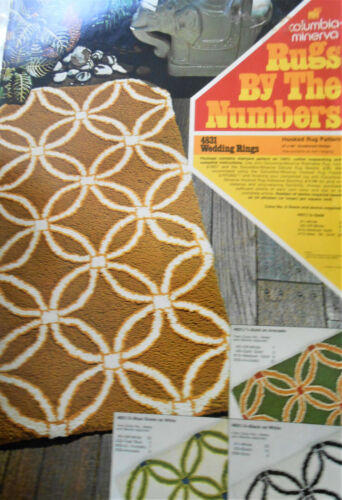 "Columbia-Minerva Rugs by Numbers Wedding Rings in Gold Hooked Kit 27""x48"" 1972"