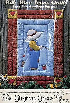Vtg 80s Gingham Goose Baby Quilt Pattern Applique Billy Blue Jean Overall Sam