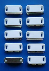 magnetic kitchen cupboard & wardrobe door catches x10 White