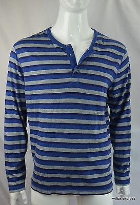 Lucky Brand Men's Henley tee XL Long Sleeve Striped Blue 420 India NEW NWT