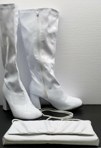 White Patent Leather Faux Costume Gogo Boots and Vintage Purse