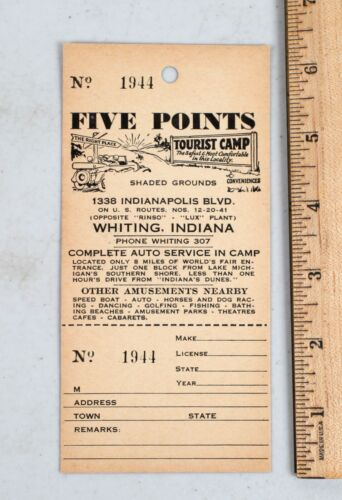 Vintage Five Points Tourist Camp Paper Car Tag Receipt Whiting Indiana