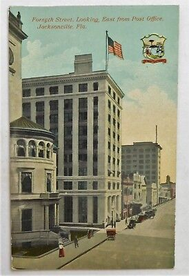 c1910 POSTCARD -FORSYTH ST. LOOKING EAST from POST OFFICE  JACKSONVILLE,FLA.