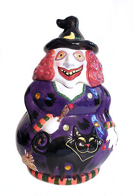 Crazy Looking Red Haired Witch And Black Cat Halloween Cookie Jar