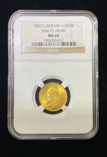 Great Britain gold coin  jubilee head 1/2 sovereign 1887 NGC ms 65