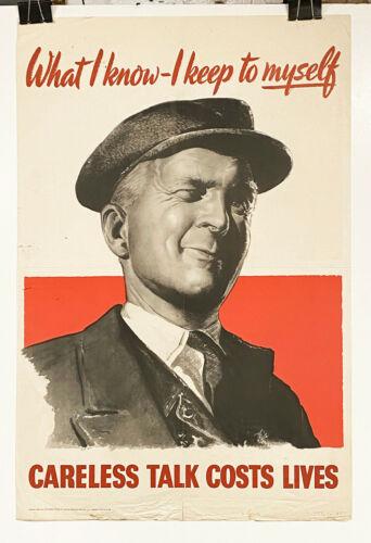 Original England WWII poster, Careless Talk Costs Lives