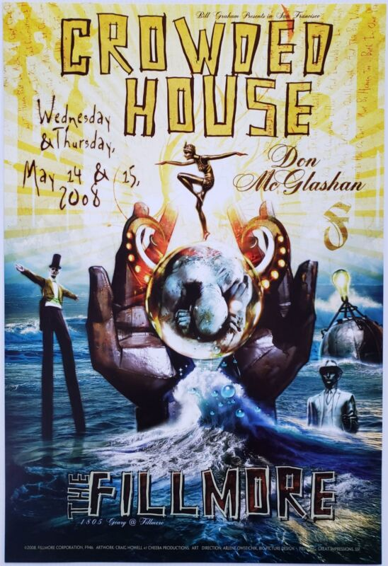 Crowded House Concert Poster 2008 F-946 Fillmore