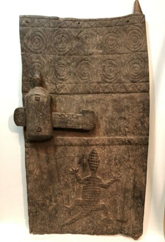 Antique  Authentic African Tribe Wood Carved Door with Lock ( DOGON, MOSSI )
