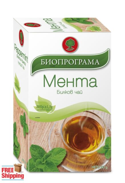 100% Organic Natural Mint / PEPPERMINT  Cut Leaves HERBAL TEA 20 tea bags x 1.5g