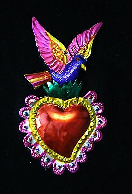 Love Token Tin Milagro, Phoenix Blue Bird over Heart Ornament, Mexican Folk Art