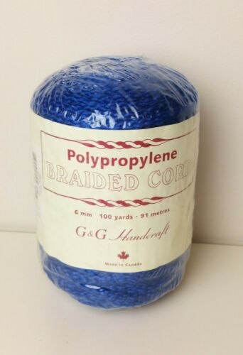 Vintage Braided Cord for Macrame Rope Dark Royal Blue 100 Yards 6 mm SEALED Roll