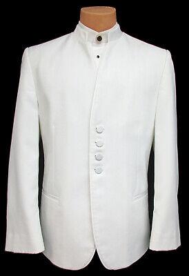 Men's White Jean Yves Tuxedo Jacket Satin Mandarin Nehru Collar Beatles Band 64L ()