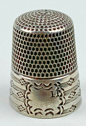 Antique Victorian Art Nouveau Sterling Silver Thimble #11