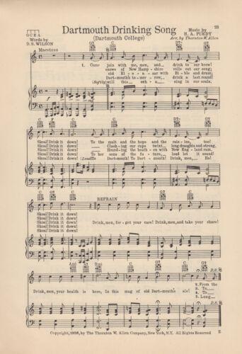 """Vtg. DARTMOUTH COLLEGE song """"DARTMOUTH"""