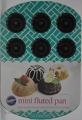 Non Stick 12 Fluted - Wilton Non Stick Mini Fluted Pan 12 Cavity Quick Release Easy to Clean 2105-5368