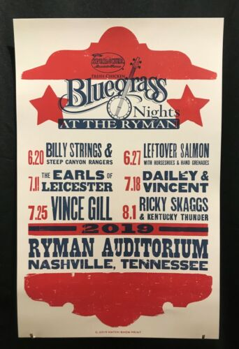 Hatch Show Print Poster Bluegrass Nights At the Ryman 2019 R. Skaggs Vince Gill