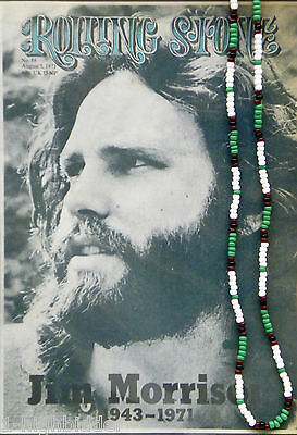 "30"" Jim Morrison Style Handmade Bead Necklace Orig. Green White Black The Doors"