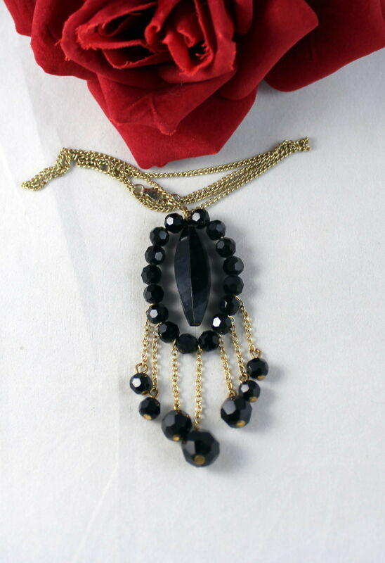 Vintage Black Lucite Beaded   Necklace FERAL CAT ReSCUE