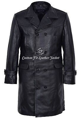 Men's Leather Coat Black 100% REAL HIDE 'GERMAN PEA COAT' Style U-BOAT