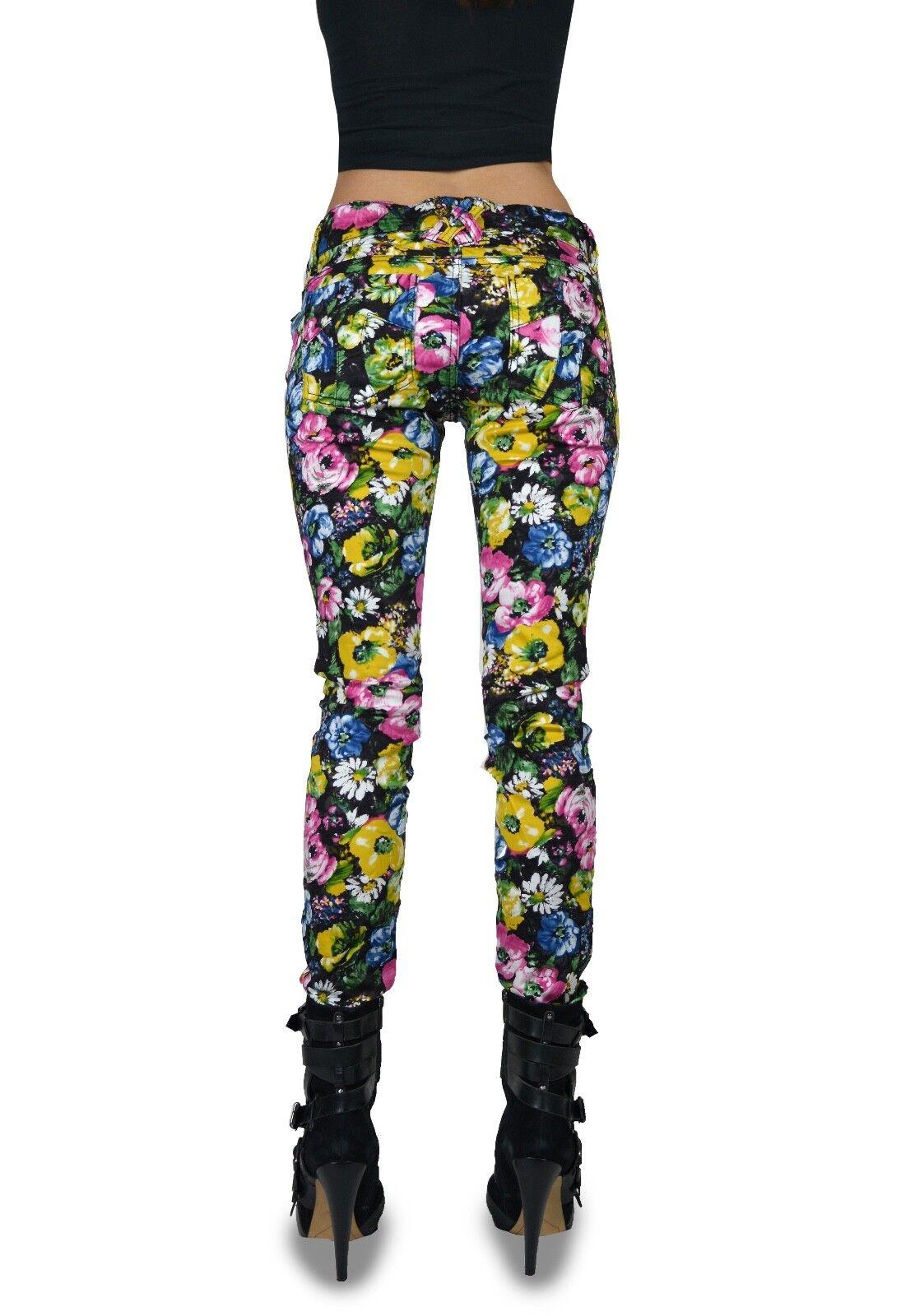 TRIPP PUNK EMO GOTHIC ROCKER ELECTRIC FLOWER PRINTED JEANS PANTS HIPPIE IL8833P Clothing, Shoes & Accessories