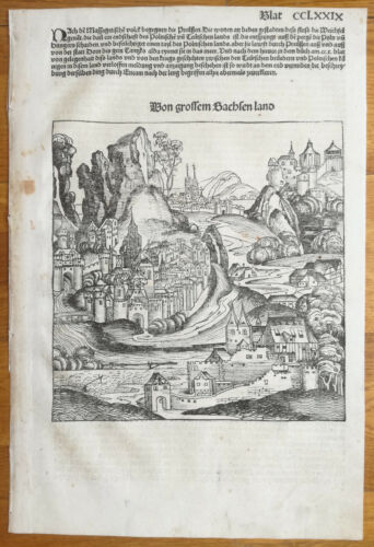Incunable Leaf Schedel Liber Chronicorum Woodcut Saxonia Sachsenland 1493
