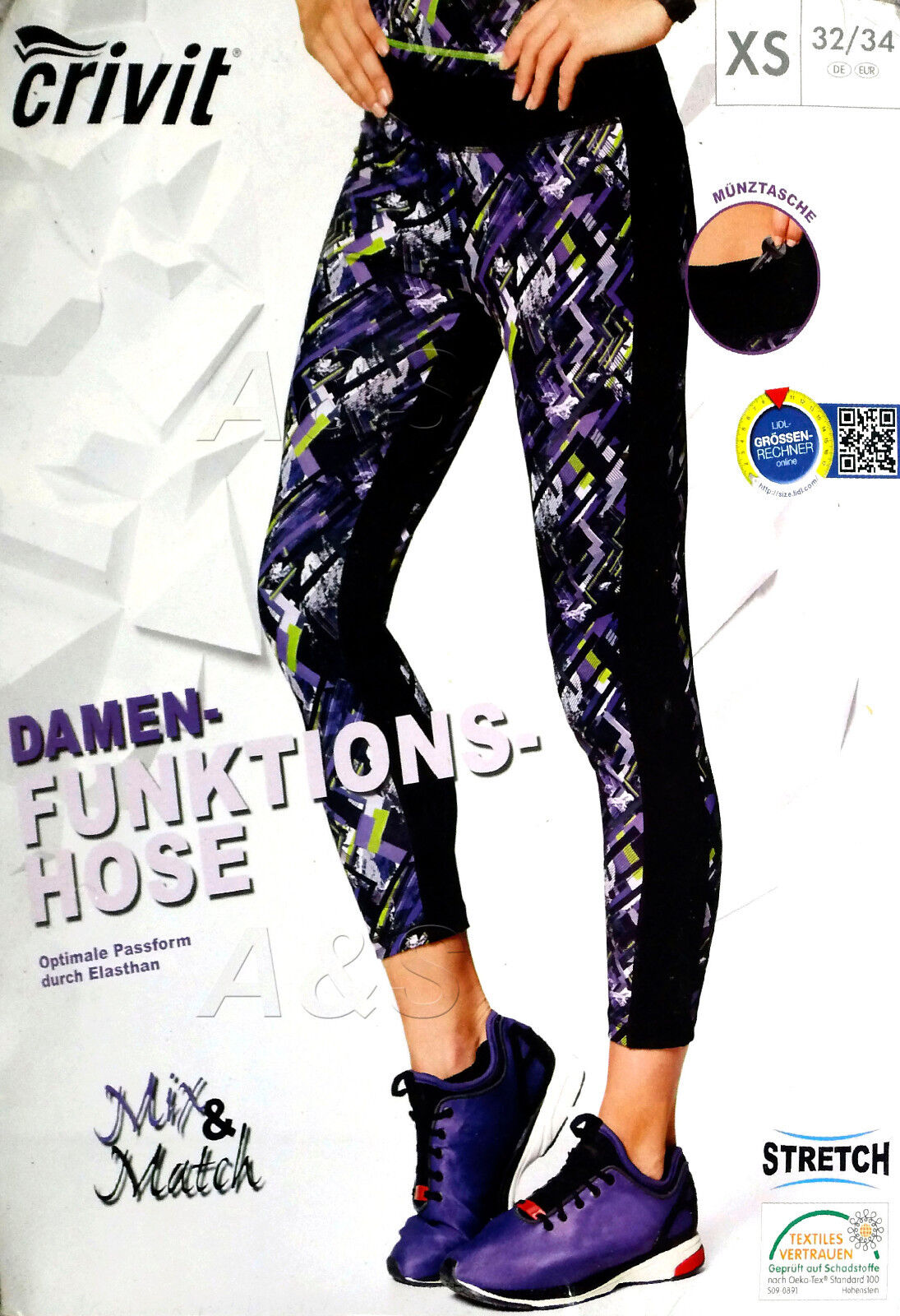 CRIVIT Damen Funktionshose Laufhose Sporthose Fitnesshose Trainings leggins NEU