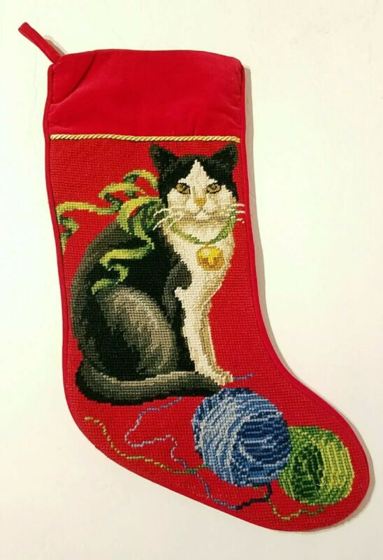 Christmas Cat Black/White/Grey w/ Bell & Yarn Needlepoint / Velvet Stocking MINT