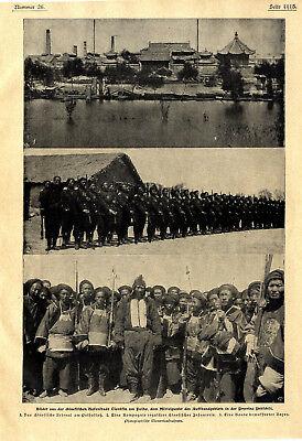 Krieg mit China Boxerbande Reguläre chinesische Infanterie Hafen Tientsin c.1900