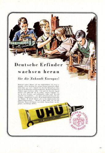 Klebstoff+Uhu+B%C3%BChl+Baden+XL+1944+Reklame+Kinder+Zukunft+Europa+Werbung+%2B