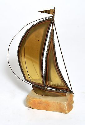 Decorative Sail Boat with white Marble Base and Gold Brass Sail](Gold And White Table Decorations)