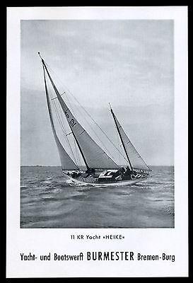 Grosse Werbung 1960 11 KR Yacht HEIKE Boots-Werft Burmester Bremen-Burg