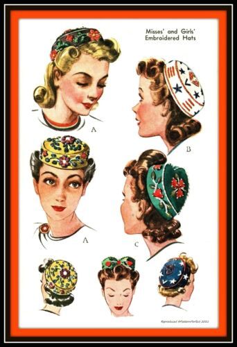 Hat EMBROIDERED Pillbox Hats  McCALL 967 Vintage 1942 Fabric Sewing Pattern