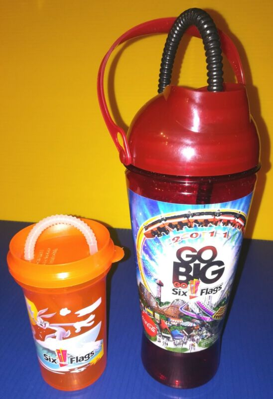 Six Flags 2011 Go Big Go Refillable Sports Bottle; Looney Tunes Kid Cup & Straws