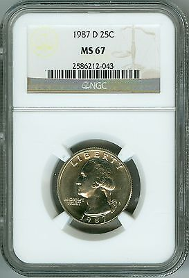 Click now to see the BUY IT NOW Price! 1987 D NGC MS67 WASHINGTON QUARTER WHITE GORGEOUS LUSTER AND CONTRAST LOW POP