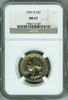 Click now to see the BUY IT NOW Price! 1987 D NGC MS67 WASHINGTON QUARTER WHITE GORGEOUS LUSTER PRICE GUIDE $675