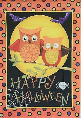 FALL AUTUMN OWL HAPPY HALLOWEEN PUMPKIN LARGE GARDEN FLAG