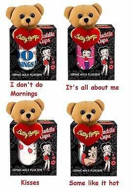 betty boop ceramic cuddle cup mug tiny plush bear morning kisses hot about me