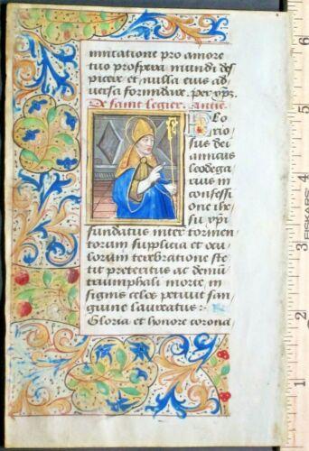 medieval BoH leaf,vellum,miniature of St.Legier,deco.gold-washed border7,c.1490