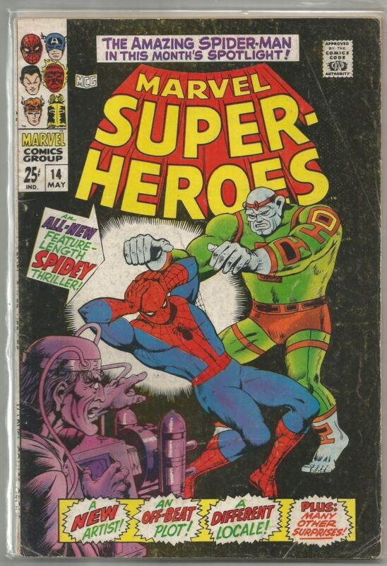 Marvel Super-Heroes #14 (1968) Comic (Reprints W. New Spider-Man Story) FN-/FN
