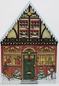 Byers Choice Traditions Christmas House Wooden Advent Calendar Box 22X16 NIB