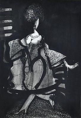 Expressive Darstellung einer Frau mit Gesichtsnetz signiert Siemens 1977
