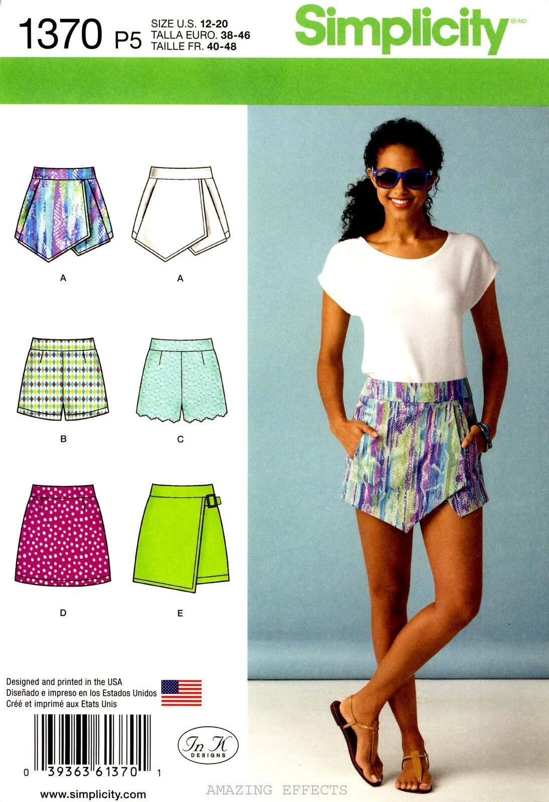 Simplicity Sewing Pattern 1370 Women's 12-20 Shorts Skort Skirts