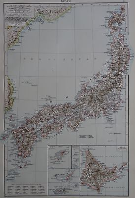 Victorian Map 1896 of JAPAN & YEZO ISLAND The Times Atlas 1st Gen